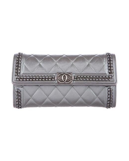 Chanel - Metallic 2016 Aged Calfskin Boy Zip-around Wallet - Lyst