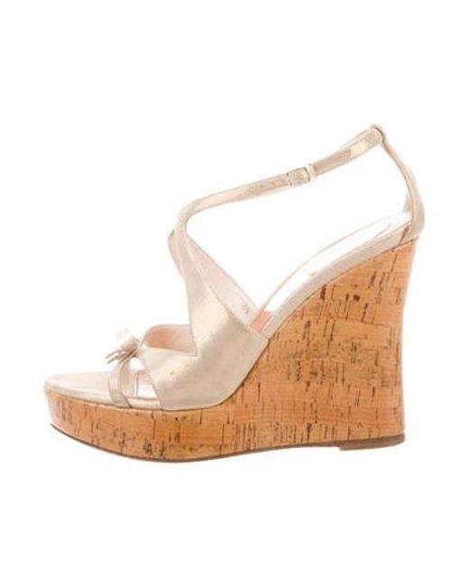 266b01bcf36 Dior - Metallic Sandal Wedges Tan - Lyst ...