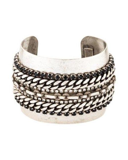 DANNIJO - Metallic Crystal Chain Cuff Silver - Lyst
