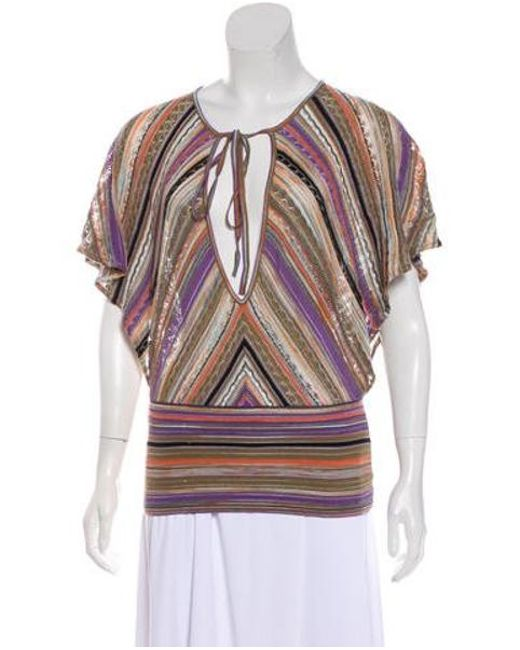 Lyst M Missoni Abstract Pattern Open Knit Top In Brown