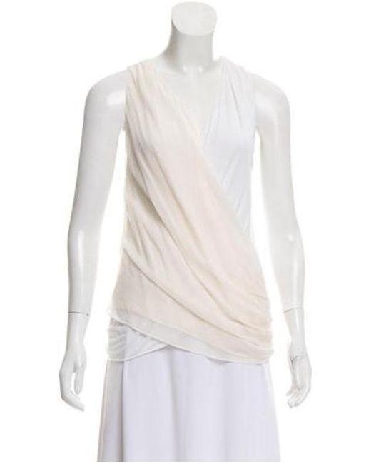 1b502cc036104 Alice + Olivia - White Silk Drape Blouse - Lyst ...