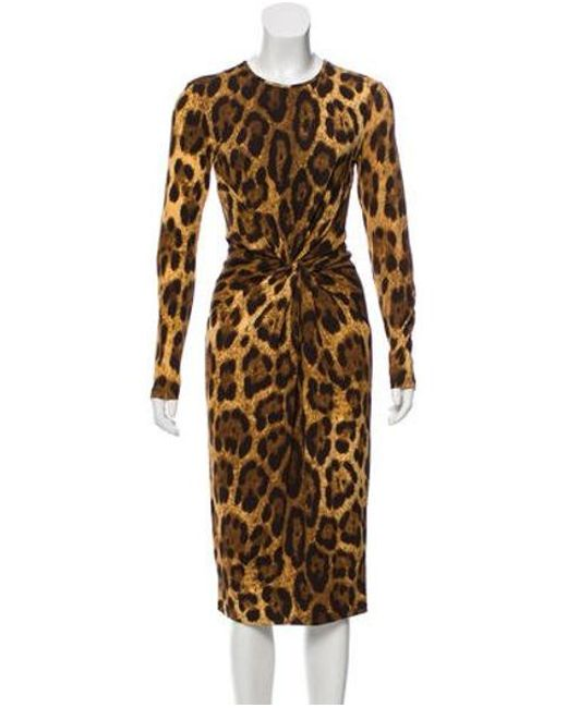 8b75e61d Michael Kors - Natural Animal Print Midi Dress Black - Lyst ...