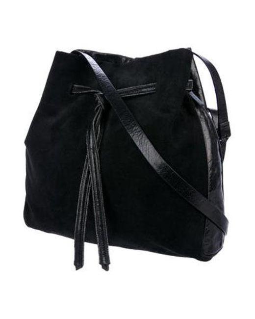 544459f05a ... Halston Heritage - Black Drawstring Leather Bucket Bag - Lyst ...