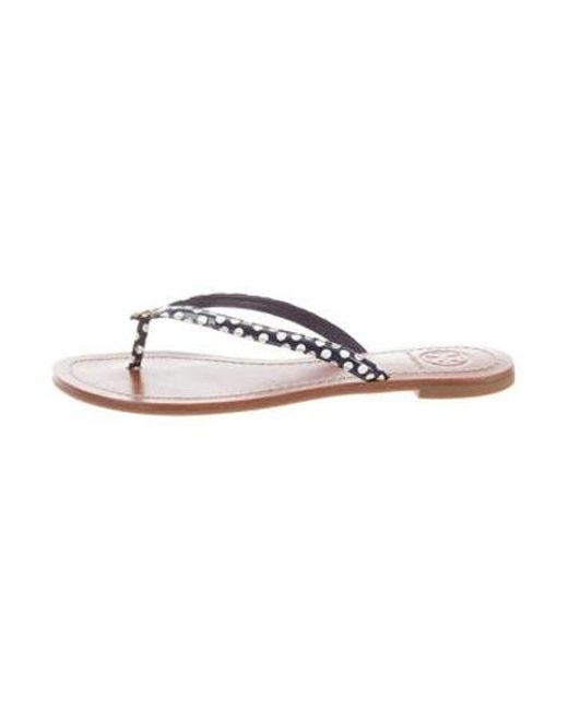37be5a2be02f6e Tory Burch - Metallic Patent Leather Thong Slide Sandals Blue - Lyst ...