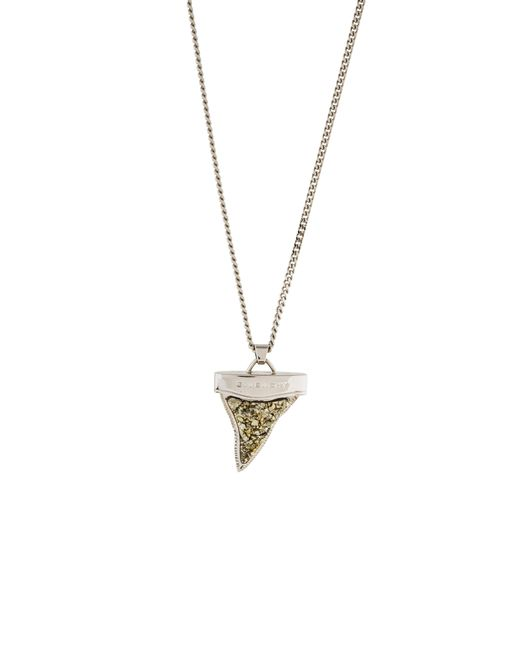 Givenchy - Metallic Pyrite Shark Tooth Double Chain Necklace Silver - Lyst