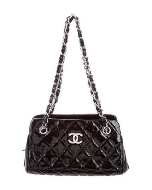 e8398f3bcefe88 Chanel - Metallic Patent Quilted Shopping Tote Black - Lyst ...