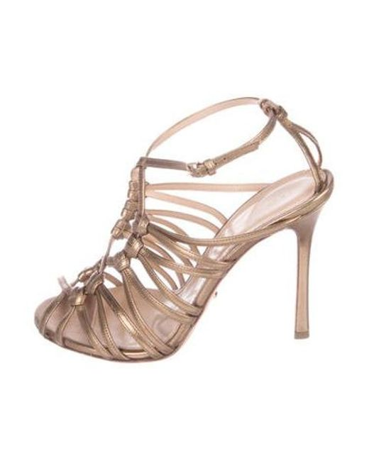 dff6dd83e11 Sergio Rossi - Metallic Leather Caged Sandals Gold - Lyst ...