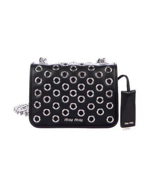 531047f8e7 Miu Miu - Metallic Miu Leather Grommet Crossbody Bag Nero - Lyst ...