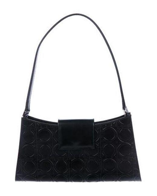 8ba4a5654cb9 Ferragamo - Metallic Gancio-embossed Shoulder Bag Black - Lyst ...