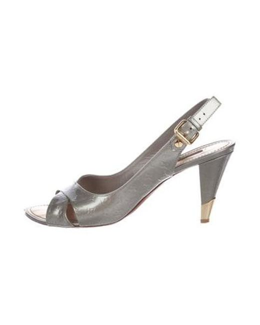 ef5b522f6ad5 Louis Vuitton - Metallic Monogram Patent Leather Sandals Grey - Lyst ...