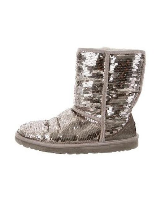 Ugg - Metallic Sequin Ankle Boots Gold - Lyst ...