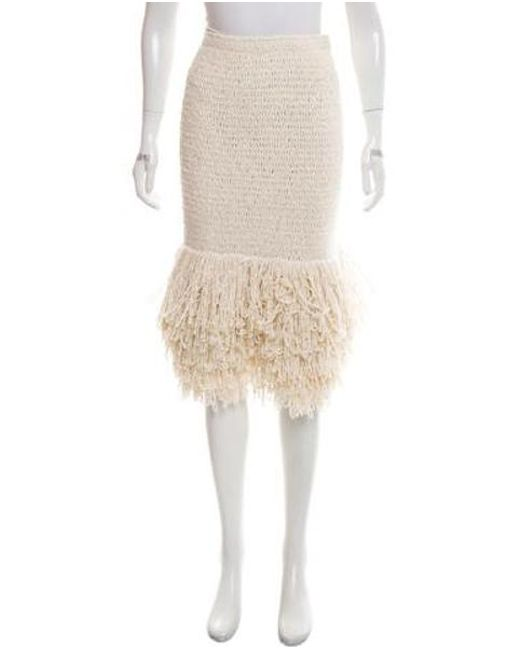 Rosetta Getty - White Fringe-trimmed Silk Skirt W/ Tags - Lyst
