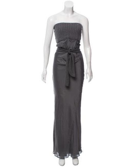 d89442679473 Brunello Cucinelli - Gray Strapless Maxi Dress Grey - Lyst ...