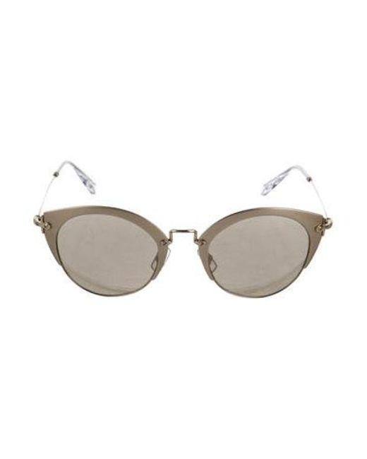 83c878d67 Miu Miu - Metallic Miu Round Mirrored Sunglasses Gold - Lyst ...