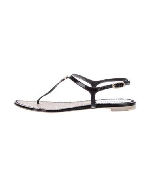 0e7fe1b646a63 Chanel - Black Patent Leather Cc Sandals - Lyst ...