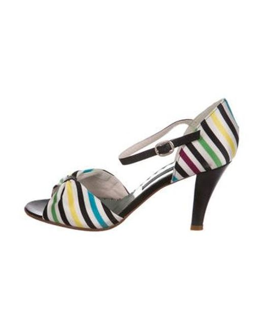 b3f0902792a Marc Jacobs - White Striped Satin Sandals - Lyst ...