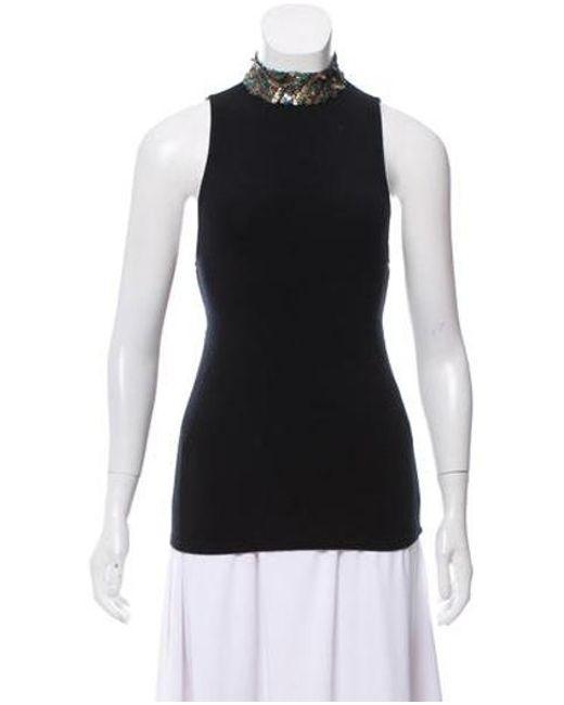 Alice + Olivia - Black Sleeveless Knit Top - Lyst