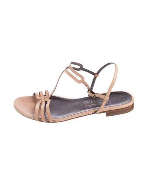 6bc5e9b429da Ferragamo - Natural Leather Ankle Strap Sandals Nude - Lyst ...