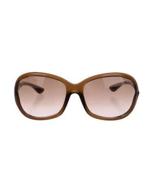 61ba1024d5 Tom Ford - Metallic Jennifer Tinted Sunglasses Brown - Lyst ...