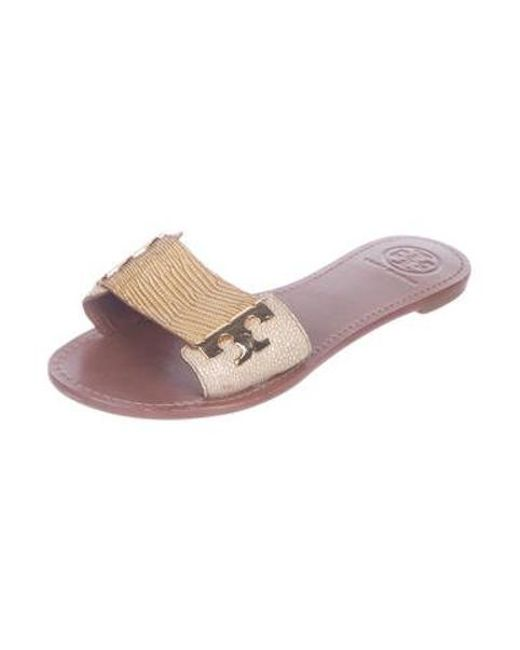 cc49aa033 ... Tory Burch - Metallic Embossed Patent Leather Sandals Tan - Lyst ...