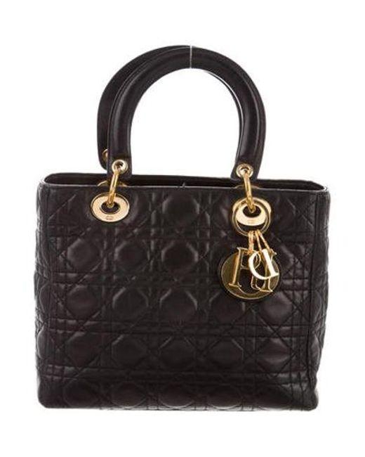 db78785d0012 Dior - Metallic Vintage Medium Lady Bag Black - Lyst ...
