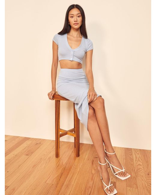 Reformation Blue Palermo Two Piece