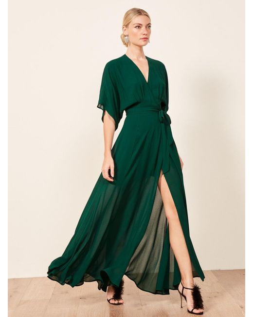 Reformation Green Winslow Dress