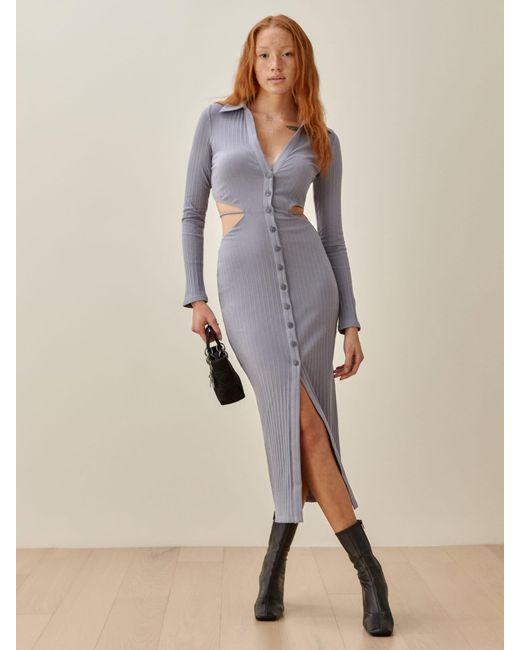 Reformation Blue Belmond Dress