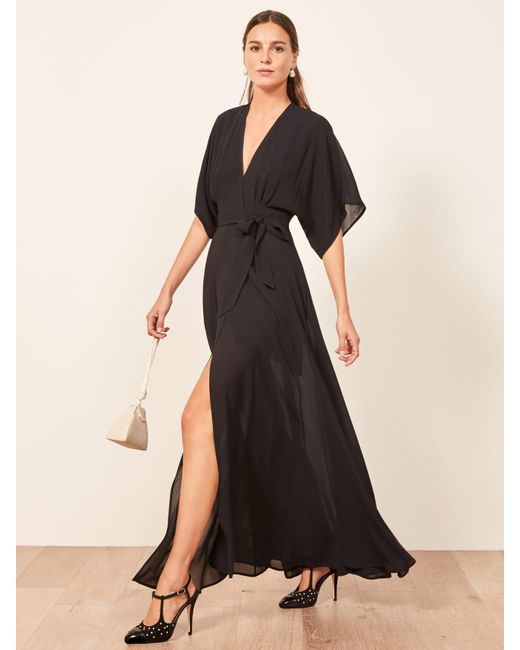 Reformation Black Winslow Dress