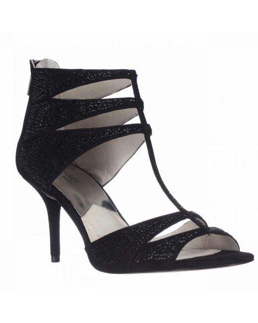 bf011b76f1ad Michael Kors - Michael Mavis T-strap Dress Sandals - Black Suede - Lyst ...