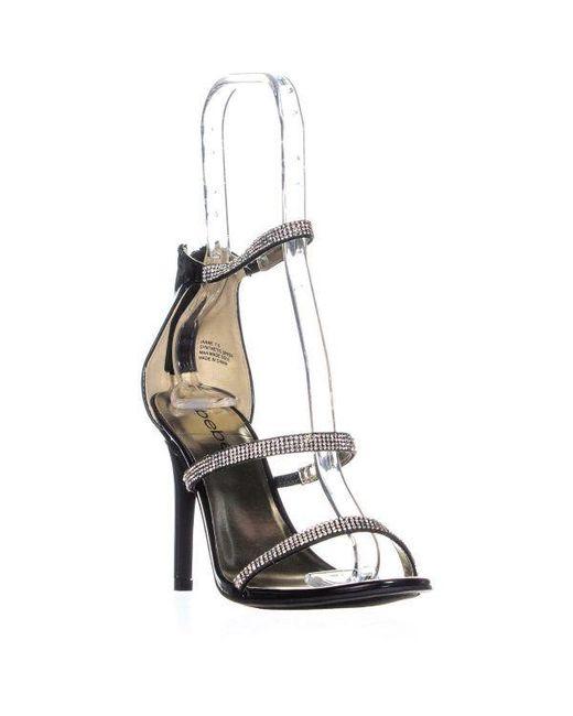576adf1c8ce Bebe - Black Janae Minimalistic Strap Bejeweled Sandals - Lyst ...