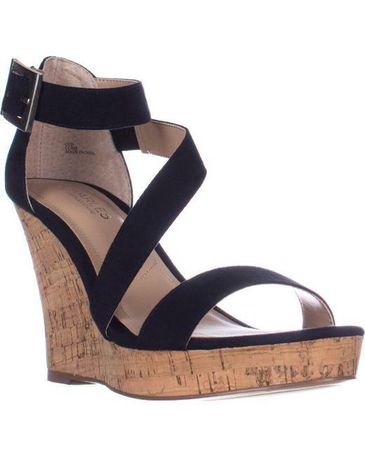 Charles David | Blue Charles Charles David Leanna Strappy Wedge Sandals | Lyst