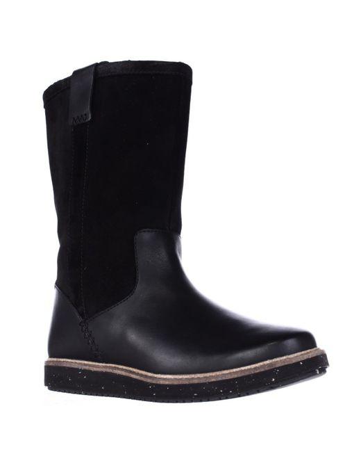 Clarks | Black Glick Elmfield Mid Calf Pull On Wool Lined Winter Boots | Lyst