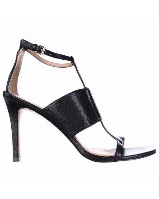 Nine West Kaylen T Strap Square Toe Dress Sandals In Black