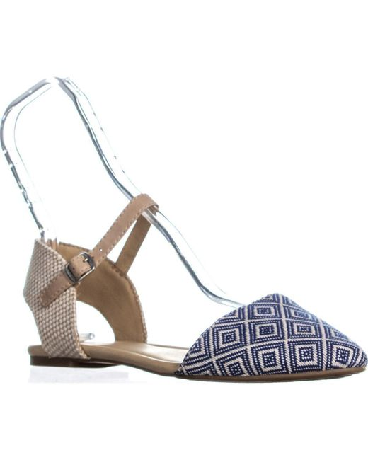 Lucky Brand - Blue Abbee Pointed-toe Ankle Strap Ballet Flats - Lyst