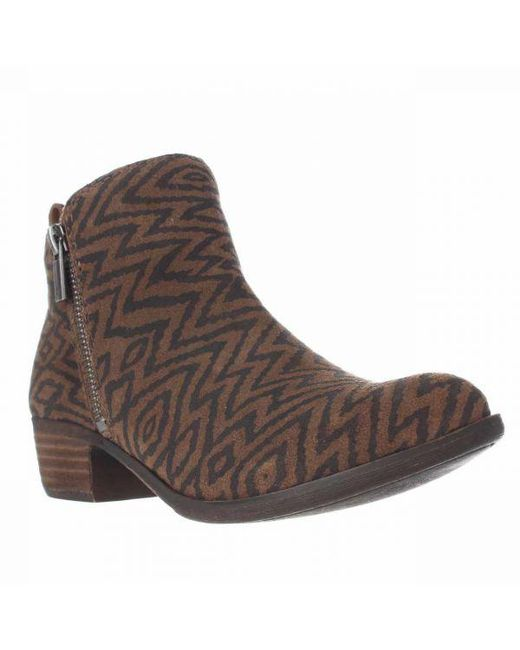 Lucky Brand - Brown Basel Side Zip Ankle Boots - Dark Earth - Lyst