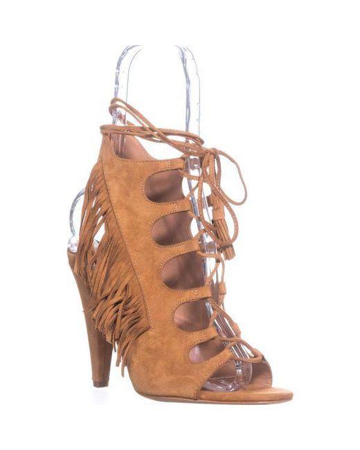 b39bfa1cd913 Lyst - Sigerson Morrison Marita Fringe Lace Up Sandals in Brown ...
