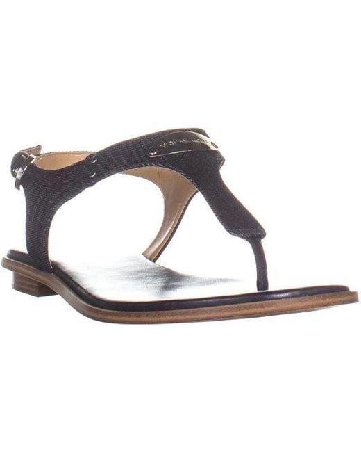 38b7e896776 Michael Kors - Blue Plate Thong Logo Thong Flat Sandals - Lyst ...