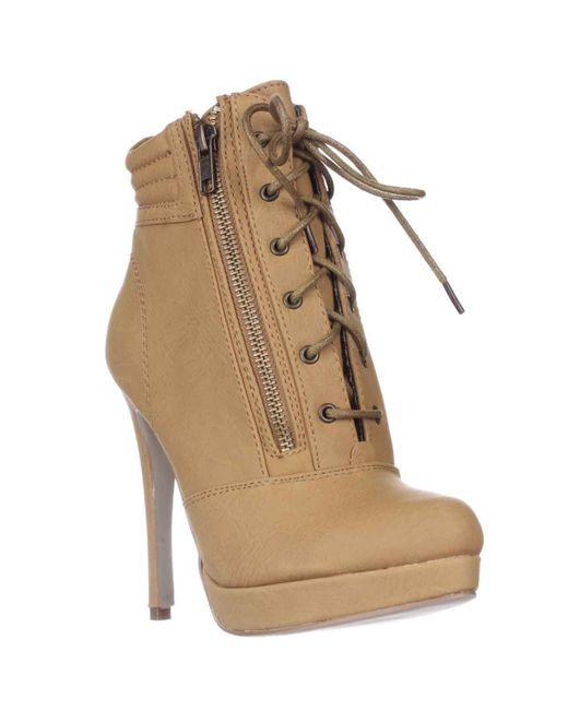 Madden Girl | Natural Hartson Platform Lace-up Ankle Boots | Lyst