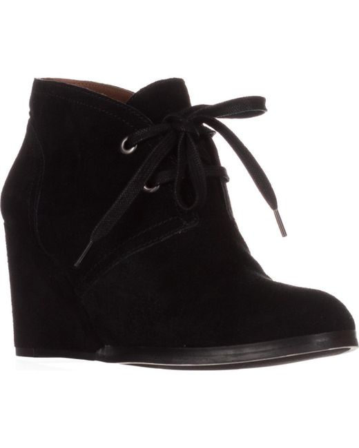 Lucky Brand Black Seleste Lace Up Wedge Booties