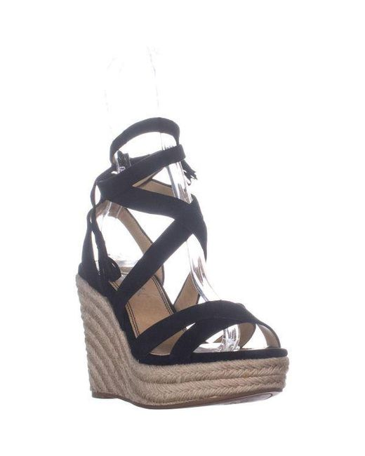 bb3a8da1d7a Women's Black Janice Espadrille Wedge Strappy Sandals