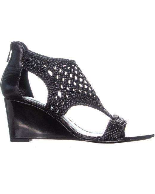 Donald J Pliner Joli Perforated Wedge Sandals In Black