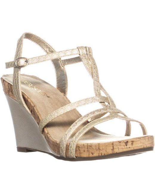 46ec9e051de8 Aerosoles - Metallic Plush Song T Strap Sandals - Lyst ...