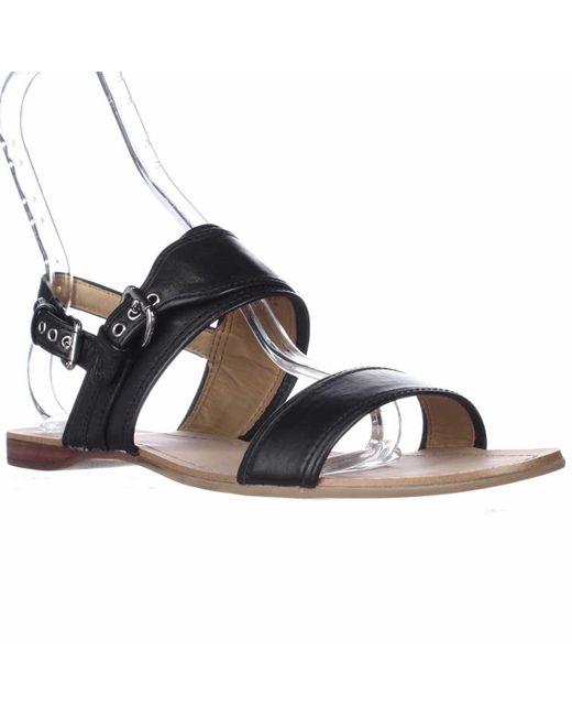 Coach Canal Slingback Flat Sandals in Black | Lyst