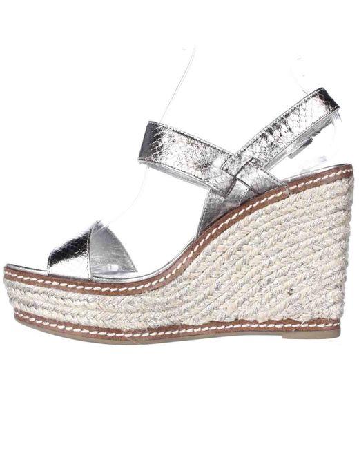 lauren by ralph lauren lauren ralph lauren serana wedge espadrille sandals in metallic lyst. Black Bedroom Furniture Sets. Home Design Ideas