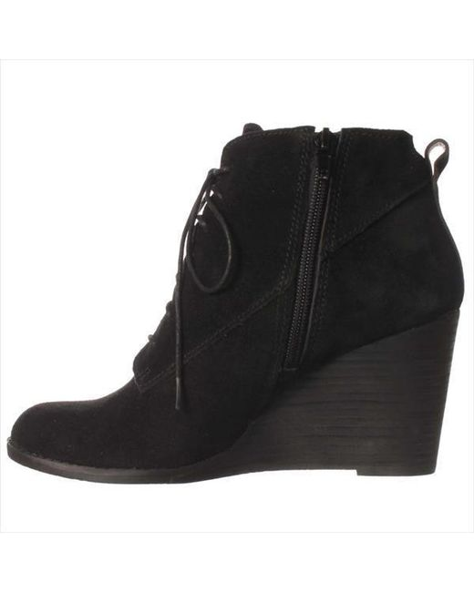 lucky brand yoanna lace up wedge ankle boots in black lyst