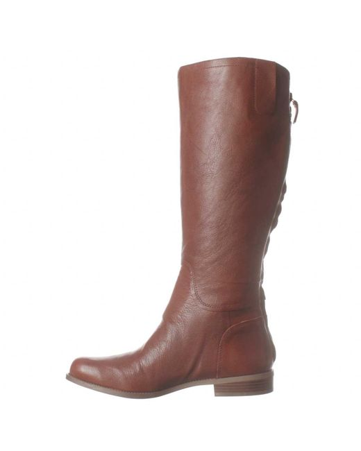 nine west contigua wide calf flat boots in brown cognac