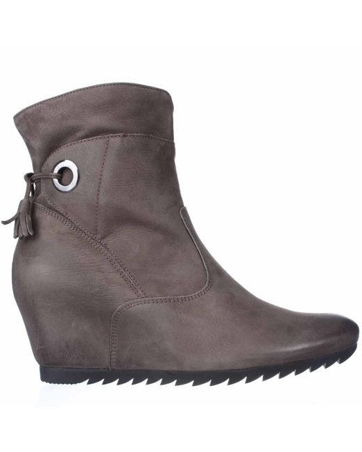 paul green wedge tassle tie ankle boots in gray