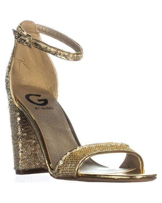 5ac1f84c5a6 Guess - Metallic G By Shantel11 Ankle Strap Sandals - Lyst ...