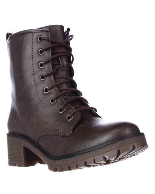 Madden Girl | Eloisee Lace-up Combat Boots - Brown | Lyst